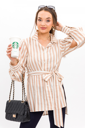 Belted Stripe Tunic, Taupe