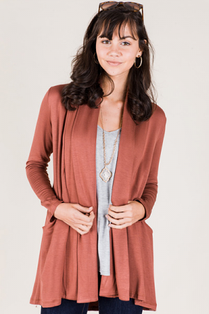 Silky Smooth Pocket Cardi, Rust