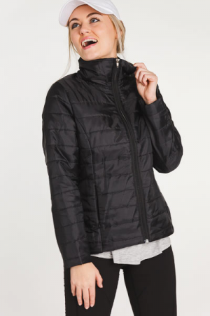 Quilted Stripe Jacket, Black