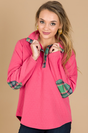 Quilted Cutie Pullover, Hot Pin