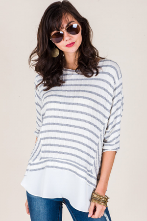 Everything Striped Top, Grey