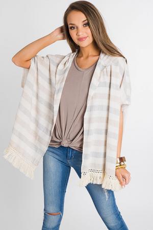 Taupe Tassels Kimono