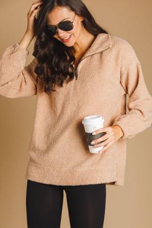 Fall Fuzzy Half Zip Pullover