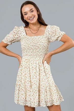 Peachy Blooms Dress, Cream