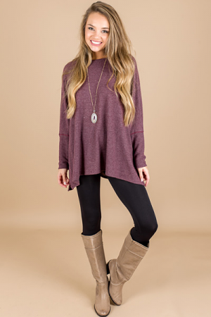 Boxy Dolman Sweater, Burgundy
