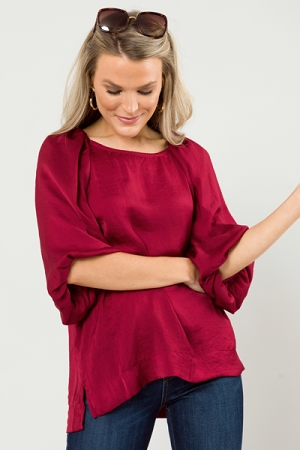 Puff of the Party Blouse, Garnet