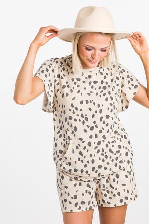 Dalmatian Print Comfy Set, Taupe
