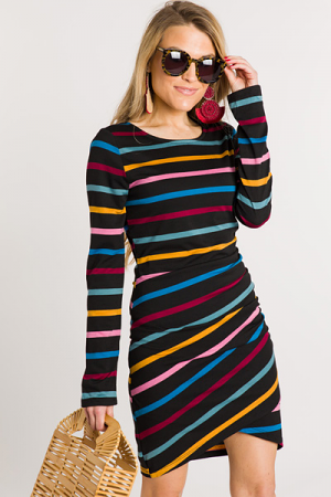 Julie Striped Bodycon Dress