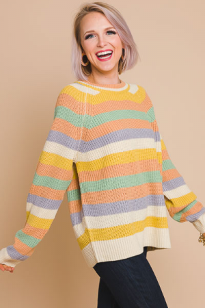 Pretty in Pastel Stripe Sweater