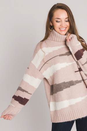 Side Stripe Turtleneck, Pink