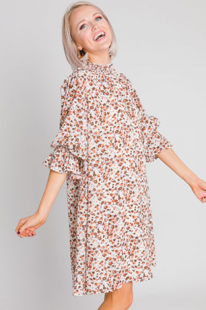 Dainty Floral Smock Neck Dress