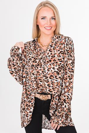 Buttoned Leopard Blouse, Mocha