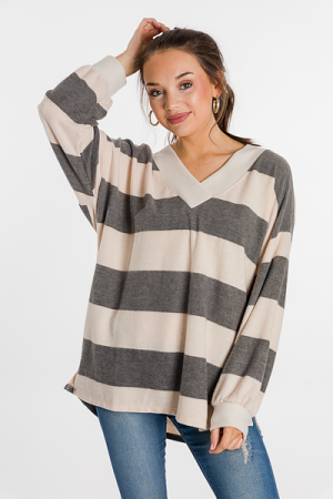 Charcoal Stripes Brushed Top