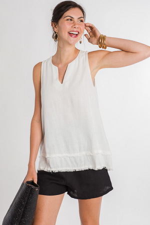 Linen Tunic Tank, Off White