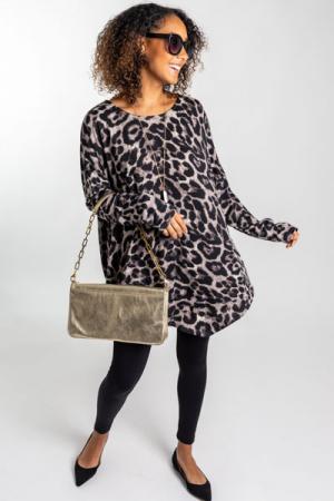 Boxy Leopard Tunic, Grey