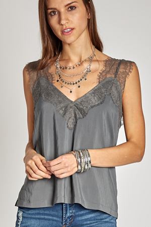 Pinterest Lace Cami, Pewter
