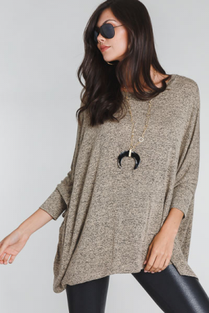 Marbled Boxy Tunic, Taupe