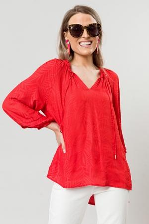 Tonal Print Blouse, Coral Red