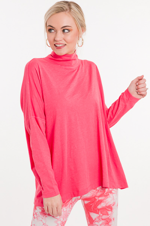 Boxy Turtleneck Top, Bubblegum