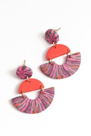 Half Moon Clay Earring, Red Multi