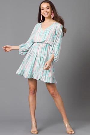 Emilia Dress, Jade/Blush Stripe