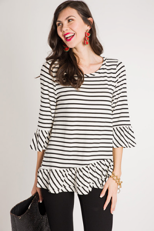 Ruffled Hem Striped Tunic