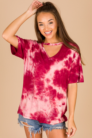 Cut Out Tie Dye Tunic, Wine