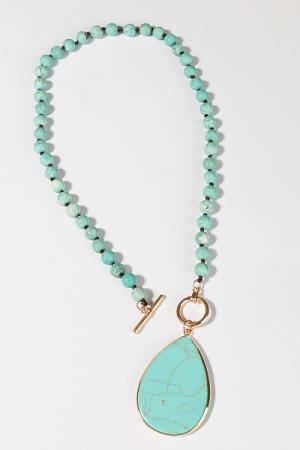 Large Toggle Necklace, Turquoise