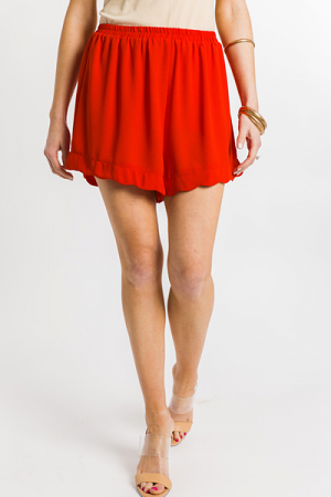 Scallop Trim Shorts, Red