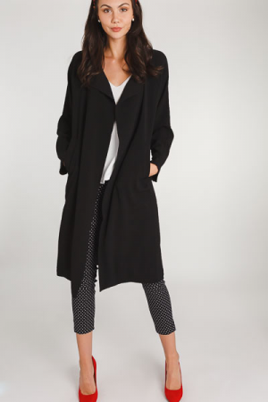 Textured Trench Coat, Black