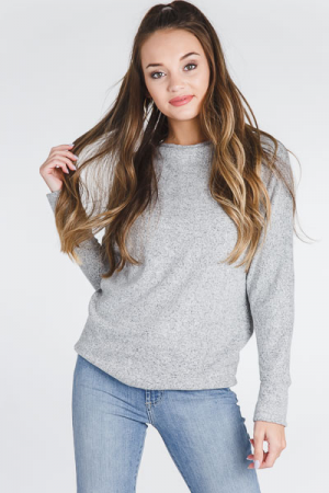 Brushed Cowl Sweater, Grey