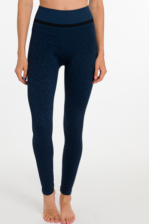 Nicki Leopard Legging, Navy