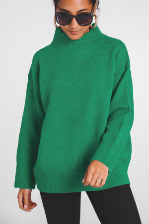 Obsession Mock Neck Sweater, Green