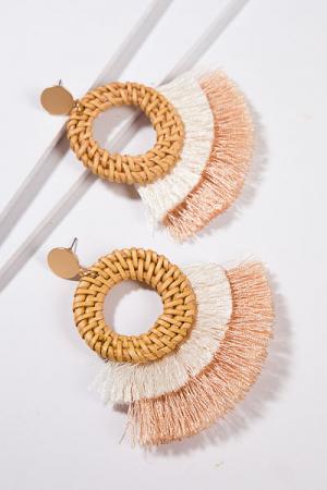 Rattan Tassel Earrings, Cream