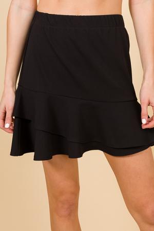 Double Ruffle Skirt, Black