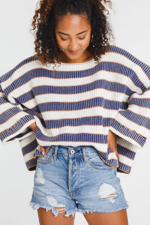 Wide Arm Stripe Sweater