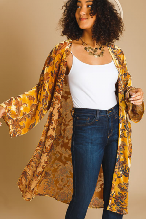 Velvet Burnout Kimono, Mustard