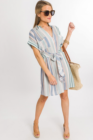 Washed Stripes Tie Dress