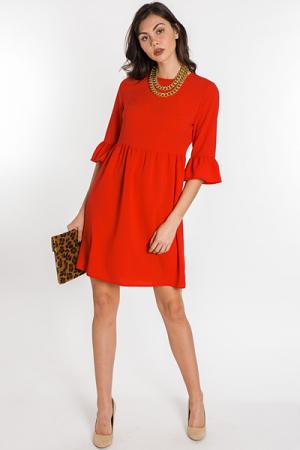 Brit Bell-Sleeve Dress, Tomato
