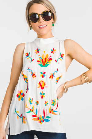 Wild Card Embroidery Top