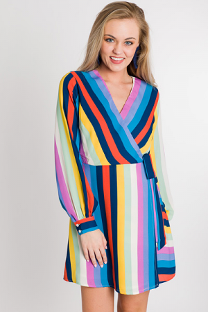 Earn Your Stripes Wrap Dress