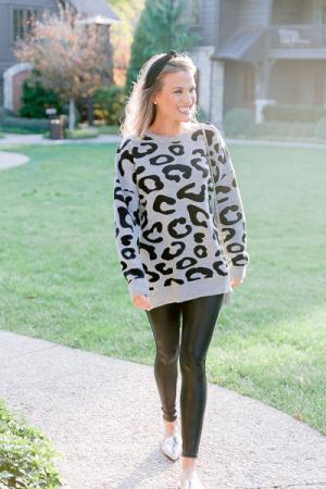 Baye Leopard Sweater, Gray