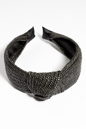 Raffia Headband, Solid Black