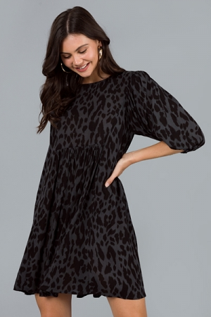Cheetah Print Rayon Dress, Charcoal