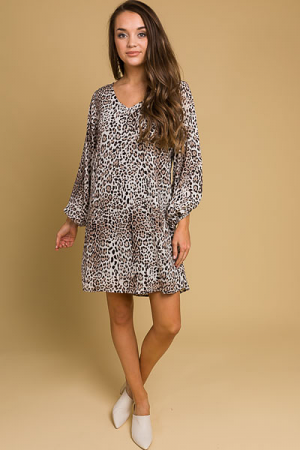 Animal Balloon Sleeve Dress