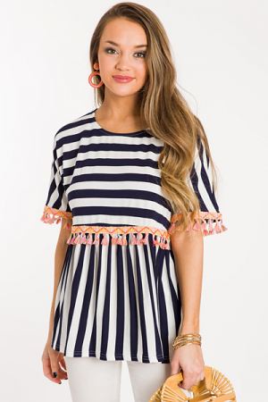 Neon Fringe Stripe Top