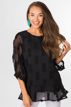 Puffed Layers Tunic, Black