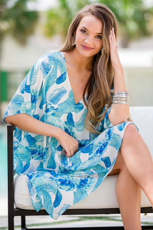 Blue Palm Leaf Caftan