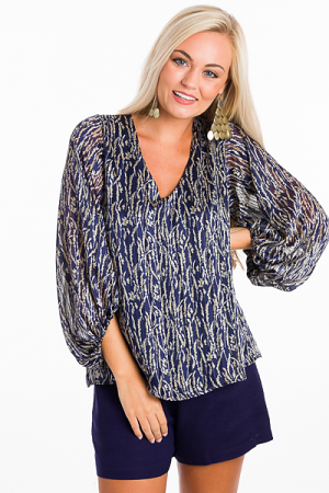 Lurex Leaf Blouse, Navy