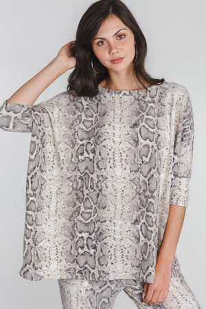 Brush Knit Slouchy Tunic, Snake